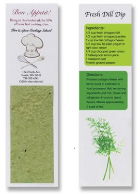 Custom Printed Recipe Bookmarks with Herb Seed Paper Insert