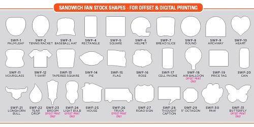 Sandwich Hand Fan Stock Shapes