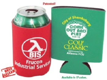 Folding Foam Can Coolers. This example shows a custom logo and message. We provide free assistance in selecting the proper can cooler, creating your personalized message and producing your promotional cooler.