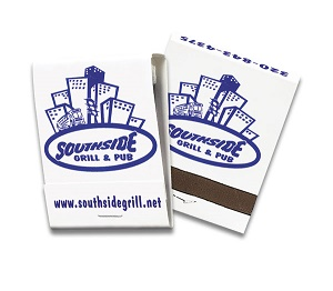 Custom Blue on White 20 Stick Matchbook