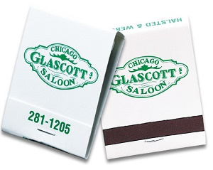 Custom Green on White 20 Stick Matchbook