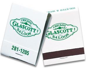 Custom Green on White 20 Stick Matchbook