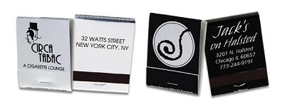 Custom Silver Foil and Black  20 Stick Matchbook