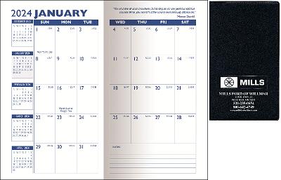 Standard Vinyl Monthly Pocket Planners Open
