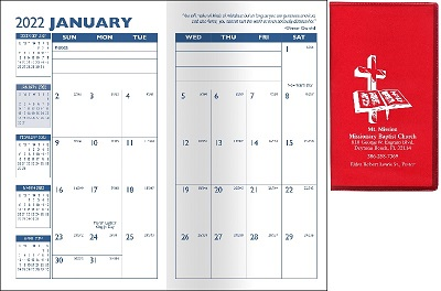 Open View of Customized Translucent Monthly Pocket Planners