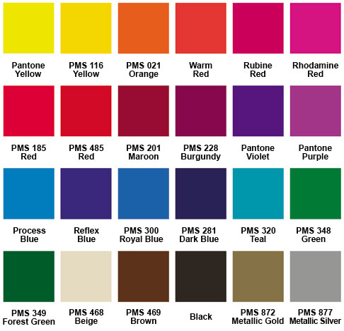Standard Imprint Colors for Pet Identification Kits