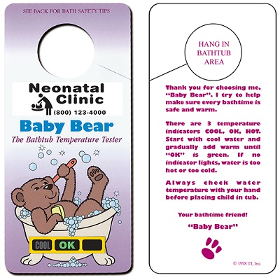 Custom Imprinted Baby Bear Hanging Bath Thermometer