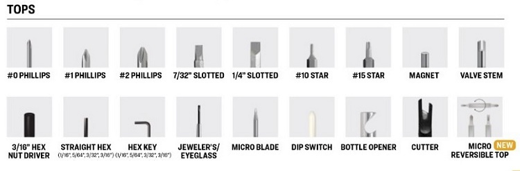 Pocket Screwdriver with Tool Top Options