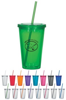 Custom 16 oz Double Wall Acrylic Tumblers with Straw