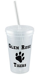 Clear Acrylic Tumbler with Colored Straws
