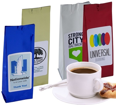 Custom Imprinted Gourmet Coffee Stand Up Bags