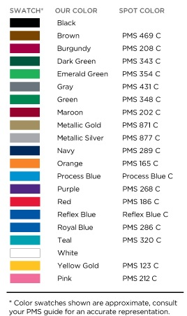 Standard Imprint Colors for Stylus Pens