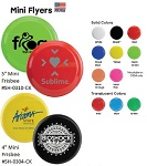 Promotional Four & Five Inch Mini Frisbee Flyers