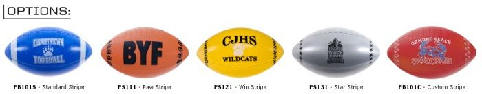 Footballs with Standard and Custom Stripes